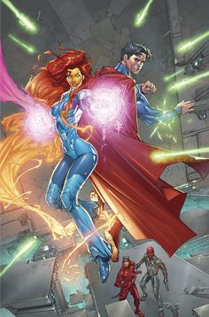 Superman & Starfire w. Red Hood & The Outlaws Comic Book Characters, Comic Character, Comic Books Art, Comic Art, Character Design, Superman Wonder Woman, New 52, Red Hood, Jason Todd