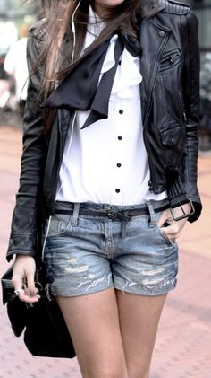 leather coat with shorts