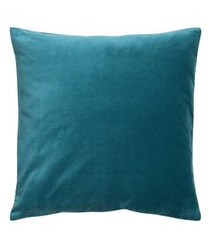Teal. Cushion cover in cotton velvet with concealed zip.