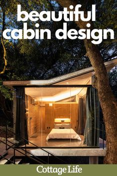 You have to see inside these beautiful cabins. Use them for interior design inspiration. #kitchenideas #bedroomideas #interiordesign #cabinstyle #homedecor #cabinaesthetic #CottageLife Cottage In The Woods, Lake Cottage, Cottage Homes, Cabin Design, Cottage Design, Cottage Style, Black Exterior, Interior And Exterior, Vertical Siding