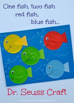 Very cute one fish, two fish craft for Dr Seuss week