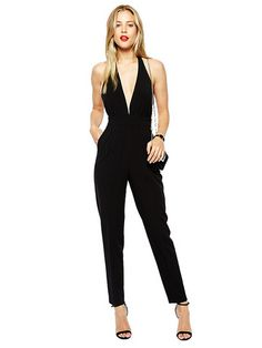 Simple Black V-Neck Sexy Backless Long Jumpsuits