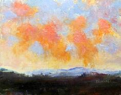 "Daily Painters Abstract Gallery: ""Clouds of Coral"" by Karla Nolan, unframed palette knife oil painting"