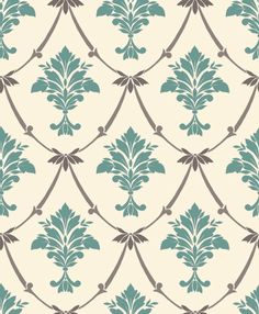 Liana Emilio Large Damask Teal Wallpaper - great for people that want different patterns in each room but coordinating colours - like me.