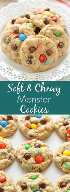 Peanut butter oatmeal cookies packed with m&ms and chocolate chips. These monster cookies are incredibly soft, chewy, thick, and so easy to make!