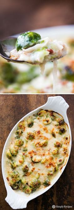 Most delicious Thanksgiving and holiday side! Brussels sprouts baked with shallots and pancetta in a cheesy Gruyere sauce. On SimplyRecipes.com