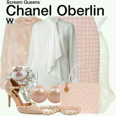 Abrigo de peluche / Abrigo rosa / blusa rosa / falda rosa / falda lapiz / calcetas blancas * tacones rosas / tacones de punta / tacobes de pico / accesorios * perlas / bolsa channel / bolsa rosa * bolsa channel / Chanel Oberlin  Scream queens outfits