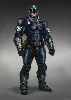 by Bogdan Tomchuk Alien Character, Cyberpunk Character, Comic Character, Character Concept, Character Design, Warhammer 40k Rpg, Tactical Armor, Sci Fi Armor, Future Soldier