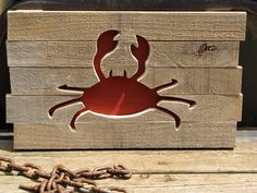 Reclaimed Pallet Wood Crab Wall Art New England Decor