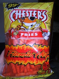 Chester's Fries Flamin' Hot Flavor Neither of the two testers of these hot fries had ever tasted hot fries before, so the texture was very u. Hot Snacks, Junk Food Snacks, Night Snacks, Hot Fries Chips, Churros, Spicy Cheetos, Food Goals, Food Cravings, Desert Recipes
