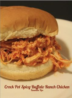 Crock Pot Spicy Buffalo Ranch Chicken  3 ingredients! One of my favorite crock pot recipes!