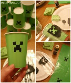 Creeper cups and Minecraft goody bags! So simple! Just need green cups and green bags. Cut out a stencil from heavy paper and dab with black paint. Must see her Minecraft party printables too.