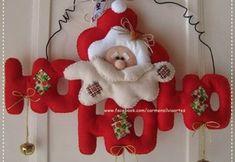 Moldes letrero de navidad papá noel en fieltro Christmas Stockings, Christmas Ornaments, Xmas Decorations, Baby Items, Diys, Holiday Decor, Home Decor, Halloween, Paper