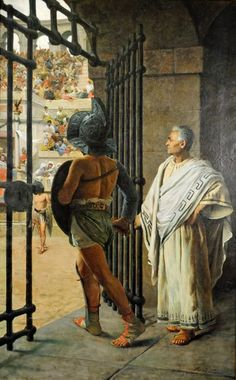 "M. Landucci ""The Gladiator"" Oil on Canvas C. 1850"