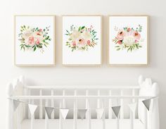 Floral Watercolor Nursery Prints, Set of 3 Prints, Watercolor Roses, Boho Nursery Art, PRINTED ART, Pink Peonies, Ivory Roses, Cream Floral by DuneStudio on Etsy