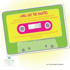 80s party mix tape invitation Birthday ideas Pinterest Party