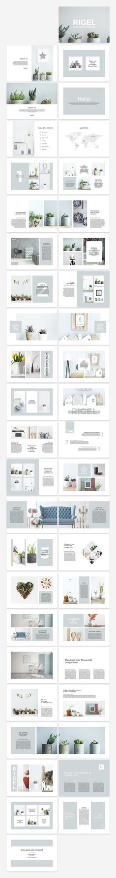 Rigel Brochure is an elegant, simple and impressive template for InDesign. It is prepared with a strong floral theme but thanks to its multi-functionality and easily editable structure you can use Rigel Brochure Template for any field you like. By SlideStation on @creativemarket