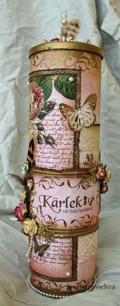 Beautiful embellished can or jar ~ maravilloso tarro de papas fritas