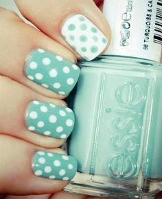 Pastel polka dots manicure nail art: two color colour design: mint green or aqua blue and white spots (dotting tool required) #spring #summer #easy