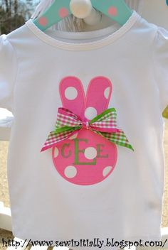Monogrammed Easter Bunny Applique Girls Tshirt or by SewInitially