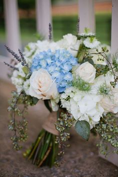 Country wedding. Bridal bouquet ideas, blue hydrangeas, white ...