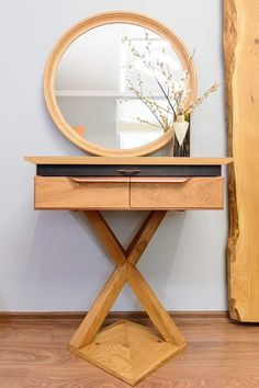 Dressing Table with Cooper Details - A piece that conveys a sophisticated mood with its daring shapes – both charming and provocative. Yoko is a custom project made with oak wood, both natural and charred finishes and handmade copper handles. Makeup Desk, Copper Handles, Handmade Copper, Yoko, Dressing Table, Entryway Tables, Shapes, Natural, Projects
