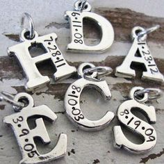 Personalized sterling silver initials for bracelet or necklace  $180 / US $12