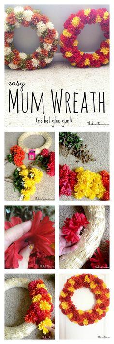 DIY mum fall wreath - no hot glue!