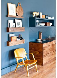 natural wood with a dusty cornflower blue in this contemporary living toom/play room Living Room Inspiration, Interior Inspiration, Dark Blue Walls, Solid Wood Kitchens, Blue Rooms, Living Room Colors, Home Interior Design, Home And Living, Living Spaces