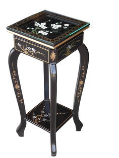 Oriental Blossom Plant Stand with Glass Top Furniture Direct, Black Plant Stand, Oriental Furniture, Furniture, Chinese Decor, Period Furniture, Chinese Furniture, Home Decor, Landing Decor