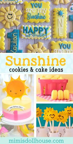 Sunshine Party: Sunshine Cookies and Sunshine Cakes. Throwing a You are my Sunshine Party? I have put together some adorable Sunshine Cookies and Sunshine Cakes for you. Be sure to also check out our other Sunshine Party ideas. via @mimisdollhouse