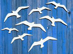 Seagulls Set Of 8 Wooden Seagull Wall by TheGlitteredPig