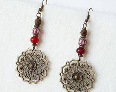 Hippie Ethnic Beaded Earrings, Oriental Earrings, Boho Chic, Bohemian Earrings, African Earrings, Moroccan Earrings, Dangle Earrings