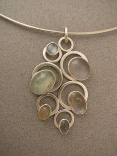 Bubbles, pendant sterling silver, moonstones, rose quartz, rutilated quartz 2 1/4 x 1 5/8 in. by www.ahlenewelsh.com
