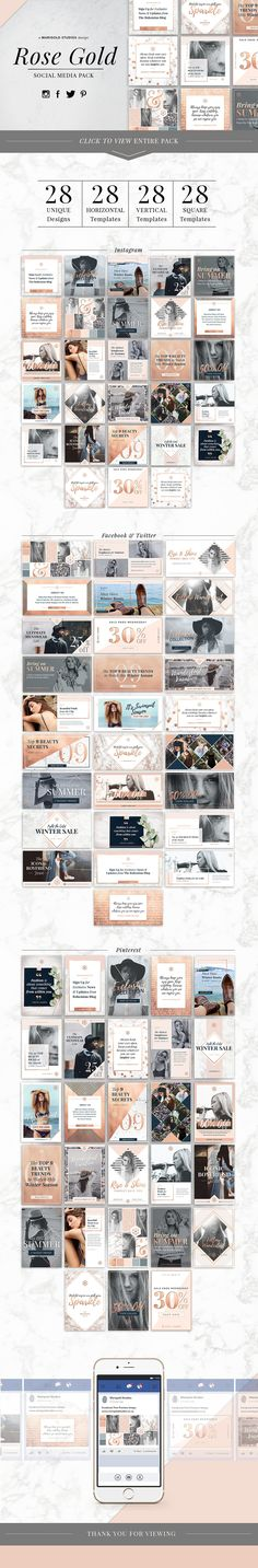 ROSE GOLD | Social Media Pack by Marigold Studios on @creativemarket