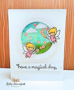 Lawn Fawn Fairy Friends; magical day; watercolor; awesome sky color; circle die; pair; adorable