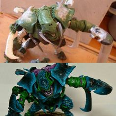 More before/after: this #countas #tyranid #carnifex #oldoneeye was pretty much the first thing I ever finished sculpting. It was made from #greenstuff and hideous plumbers Putty that set in about 20miutes and got really hot to the touch. I'm still pretty proud of Hel and one day dream of remaking her from a plastic. Carnifex!  #tyranids #nids #bugs #warhammer40k #conversion #scratchbuild #kitbash #converted #warhammer #wh40k #40k #gamesworkshop #forgeworld #epic #gw #hobby #tabletopgaming…