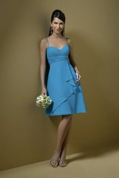 Spaghetti V Neck Ruched Short Ice Blue Bridesmaid Dresses 2012