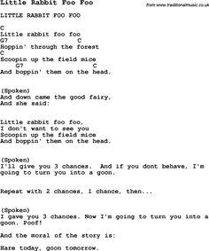 Summer-Camp Song, Little Rabbit Foo Foo, with lyrics and chords for Ukulele, Guitar Banjo etc.