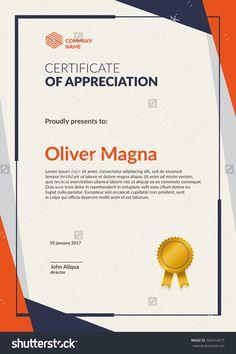 Modern certificate template. Flat creative design. Layered eps10 vector.