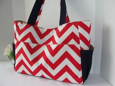 Large Diaper Bag, Every Day Large Tote Bag, Baby shower gift in Red White Zig Zag Chevron with Navy Blue Home Deco/Canvas on Etsy, $52.00