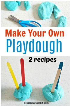 Make your own play dough for kids activities. These are easy recipes for hands-on fun and learning. Make Your Own Playdough, Homemade Playdough, Toddler Preschool, Preschool Activities, Discovery Bottles, Dough Ingredients, Sensory Rooms, Sensory Play, Play Dough