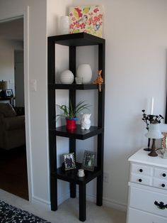 Live From IKEA black tables turned into corner shelf unit.,Live From IKEA black tables turned into corner shelf unit. Perfect solution for bedroom corner! Bathroom Hacks, Ikea Bathroom, Bathroom Ideas, Bathroom Remodeling, Bathroom Storage, Office Bathroom, Bedroom Office, Diy Bedroom, Home Improvement Projects