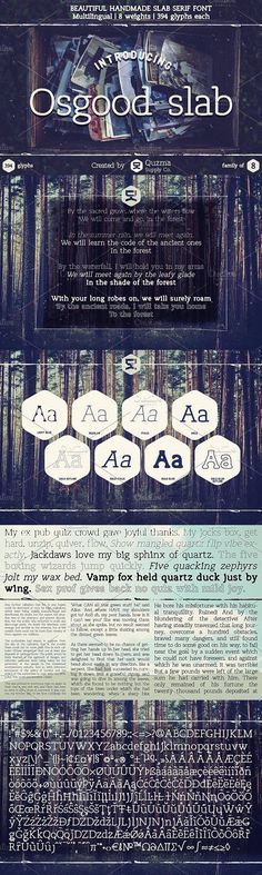 OSGOOD SLAB is a delicious handmade slab serif font, great for paragraphs of text, signs, vintage art, quotes and general use. Slab Serif Fonts, Typography Fonts, Typography Design, Font Design, Graphic Design, Space Character, Bold Italic, Cool Fonts, Glyphs