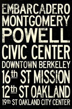 San Francisco Oakland BART Stations Vintage Subway RetroMetro Travel Poster Premium Poster at AllPosters.com