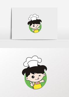 Little cartoon girl food baking girl image Food Logo Design, Logo Food, Kitchen Icon, Lord Ganesha Paintings, Logo Branding, Logos, Girl Cartoon, Flat Design, Graphic Design Inspiration