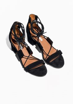 & Other Stories image 2 of Suede Lacing Sandal in Black