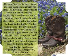 From Signed, Sealed, & Delighted by Crystal L Barnes featured in the Lone Star Love Collection. http://amzn.to/245n1ja