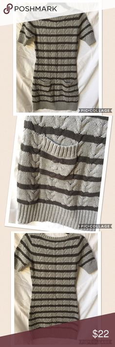 Kaisely grey cable knit sweater dress, size L. Kaisley cable knit sweater dress in grey with charcoal stripes.  Short sleeves and crew neckline.  Pockets on front.  Only worn a couple times, like new condition.  Size L (14). Dresses Casual