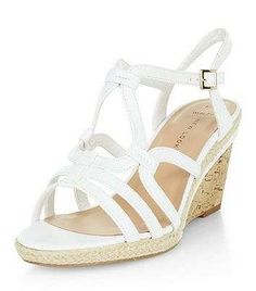 Prezzi e Sconti: #Wide fit white swirl strap wedges  ad Euro 9.00 in #New look #Shoe gallery view all view